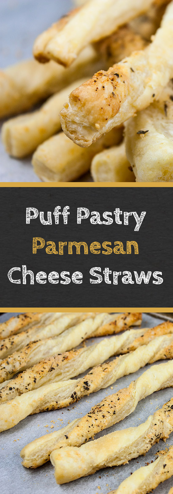 Puff Pastry Parmesan Cheese Straws - Flaky, puff pastry sprinkled with Parmesan Gruyere, garlic, and herbs! You just can't go wrong with this quick and easy appetizer! #cocktails #snack #party