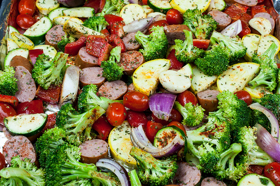 Diced Sausage and Vegetables on foil lined rimmed baking pan