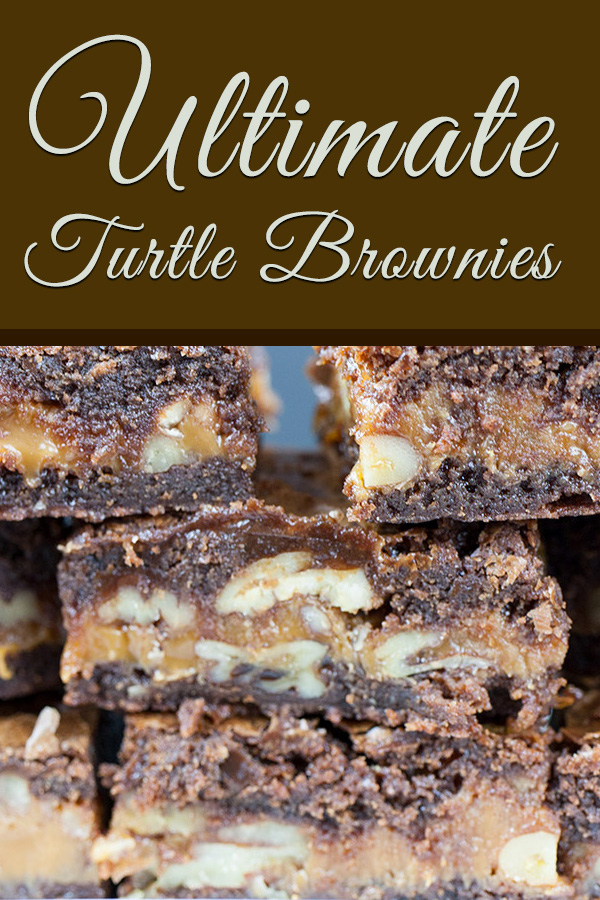 Ultimate Turtle Brownies - Deliciously rich fudgy brownies oozing with creamy caramel and loaded with pecans! Easy to make and great for parties.#dessert #sweet #recipe