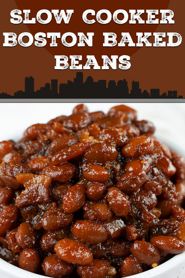 Slow Cooker Boston Baked Beans - Simmered in molasses makes these Boston Baked Beans dark, sweet and rich in flavor. Tastier than canned beans any day! #summer #recipe #sidedish #grilling